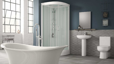 Torrelino Freestanding Bath and Shower Cabin Complete Bathroom Suite