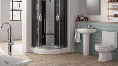 Cuba Left Hand Combination Unit with Trinity Wetroom Enclosure Complete Suite