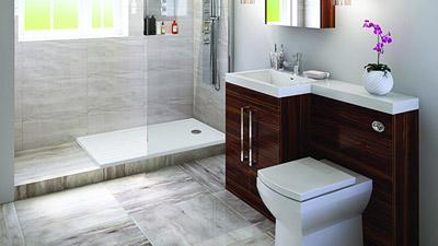 Left Hand Tabor Walnut Combination Complete Shower Bathroom Suite