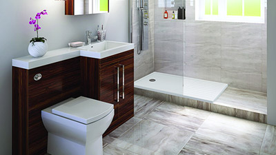 Right Hand Tabor Walnut Combination Complete Shower Bathroom Suite