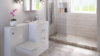 Right Hand Tabor White Combination and Wetroom Shower Suite