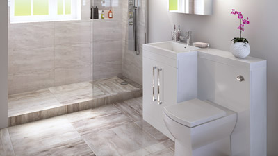 Left Hand Tabor White Combination and Wetroom Shower Suite