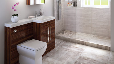 Right Hand Tabor Walnut Combination and Wetroom Shower Suite