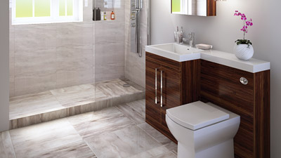 Left Hand Tabor Walnut Combination and Wetroom Shower Suite