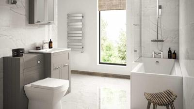 Nottingham Grey Left Hand L Shaped Shower Bath Complete Suite