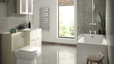 Nottingham Ivory Left Hand L Shaped Shower Bath Complete Suite