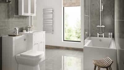 Nottingham White Left Hand L Shaped Shower Bath Complete Suite