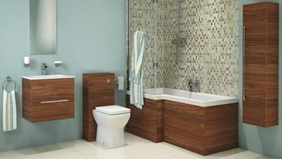 Aspen Walnut Left Hand L Shaped Showerbath Complete Bathroom Suite