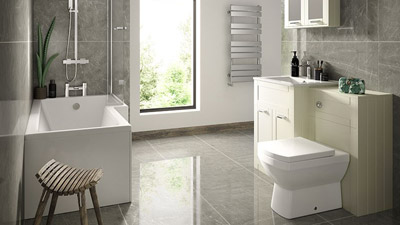 Nottingham Ivory Right Hand L Shaped Shower Bath Complete Suite
