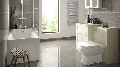 Nottingham Ivory Right Hand L Shaped Shower Bath Complete Suite