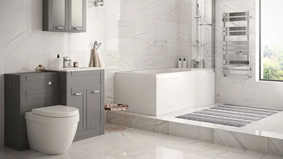 Nottingham Grey Right Hand P Shaped Shower Bath Complete Suite
