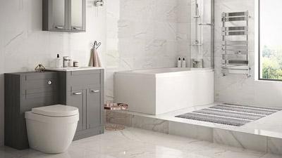 Nottingham Grey Right Hand P Shaped Shower Bath Complete Suite