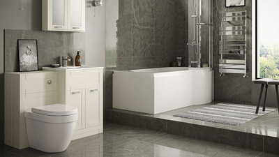 Nottingham Ivory Right Hand P Shaped Shower Bath Complete Suite