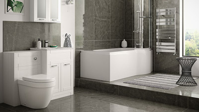 Nottingham White Right Hand P Shaped Shower Bath Complete Suite