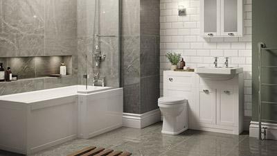 Nottingham White Park Royal Right Hand L Shaped Shower Bath Complete Suite