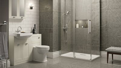 Cuba Grey Right Hand Combination Unit with Trinity Wetroom Enclosure Complete Suite
