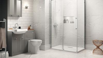 Traditional Grey Park Royal Suite with Frameless Sliding Door Shower & Single Tap Hole Basin