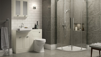 Traditional Ivory Park Royal Suite with Quadrant Shower & Single Tap Hole Basin