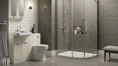 Traditional Ivory Park Royal Suite with Offset Quadrant Shower & Single Tap Hole Basin