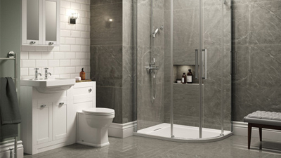 Traditional White Park Royal Suite with Offset Quadrant Shower & Two Tap Hole Basin