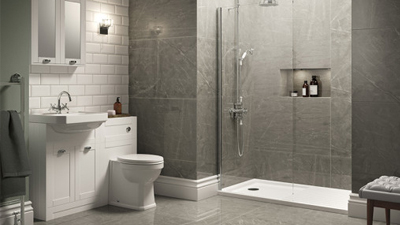 White Nottingham Walk In Glass Shower Screen Suite with Single Tap Hole Basin
