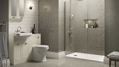 Ivory Nottingham Walk In Glass Shower Screen Suite with Single Tap Hole Basin