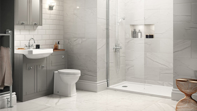 Grey Nottingham Walk In Glass Shower Screen Suite with Single Tap Hole Basin