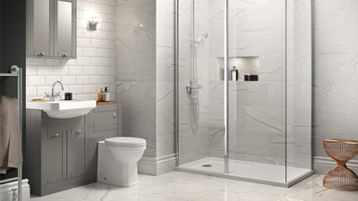 Grey Nottingham Walk In Glass Shower Screen & Return Panel Suite with Single Tap Hole Basin