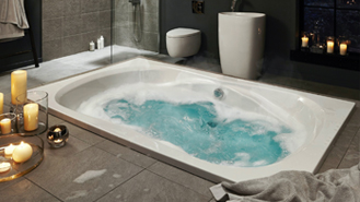 corner whirlpool baths. they can be functional though, as you buy a selection of whirlpool shower baths too for practicality. corner